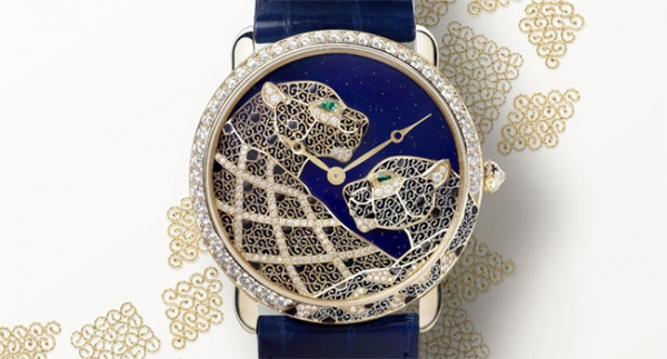 Montre ronde Louis Cartier XL décor panthères filigrane