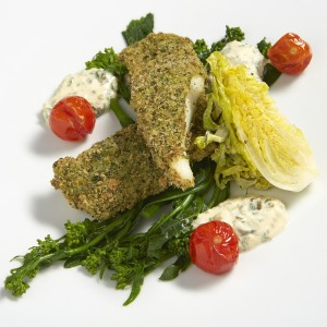i love paris Filets de merlans a la chapelure d'herbes,sauce oeuf,brocoleti juste saisi