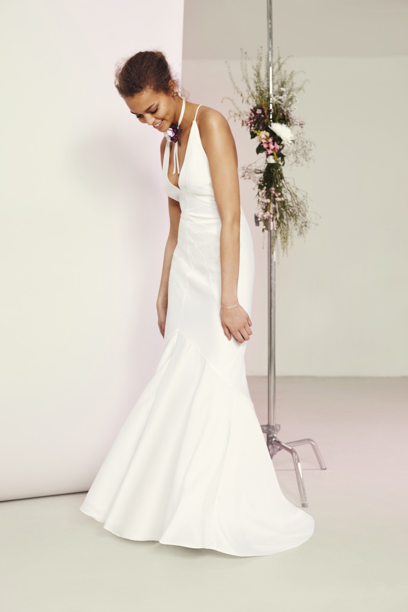 ASOS BRIDAL Deep Plunge Strappy Fishtail Maxi Dress £95