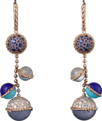 Cartier_boucles oreille_paris_nouvelle_vague_or rose_saphirs bleus_turquoises_lapis lazulis_aigue-marines_quartz de lune_diamants
