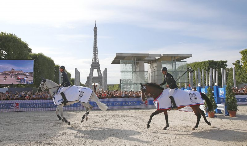 Karim Elzoghby on Amelia and Ben Maher on Cella parade after winning deah heat the Prix de la Ville de Paris