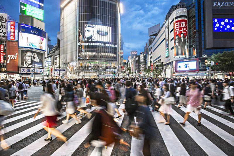 People crossing at Shibuya at dusk.