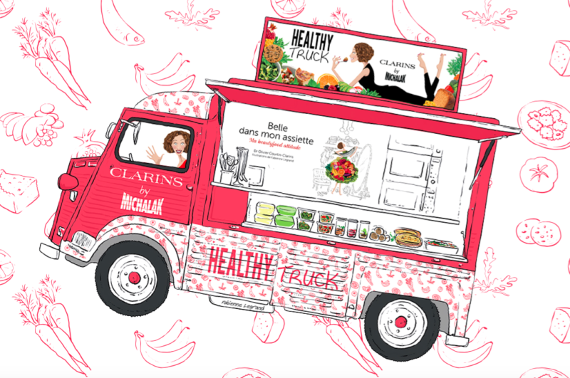 la-beaute-met-table-avec-healthy-truck-clarins